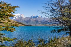 Beautiful view of aqua blue Laguna Azul with nature three tower mountains peak in clear blue sky in autumn, Torres del Paine. National park, south Patagonia royalty free stock photos
