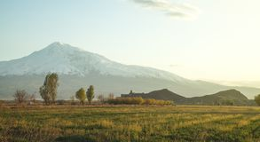 Beautiful view. Ararat mountains from Armenia royalty free stock photo