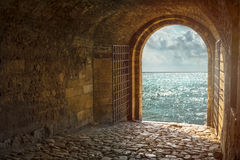 Beautiful view from arched passage Royalty Free Stock Image