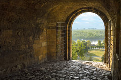 Beautiful view from arched passage Stock Photos