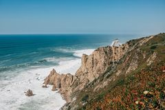 Beautiful view of the Atlantic Ocean from the western point on Cape Roca in Portugal stock photo