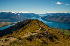 Beautiful view from atop Mount Roy. Beautiful hike up Mount Roy on a blue sky day in Wanaka Stock Photography