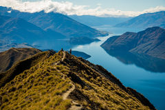 Beautiful view from atop Mount Roy. Beautiful hike up Mount Roy on a blue sky day in Wanaka Royalty Free Stock Photography