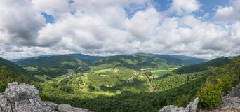 Panoramic view from atop Seneca Rocks in West Virginia. Beautiful view from atop the Seneca Rock hiking trail in West Virginia stock photography