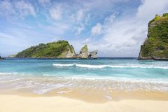 Nice calm wave. A beautiful view of Atuh Beach in Nusa Penida, a small island off of Bali royalty free stock image