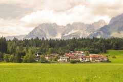 A beautiful view of the austrian alps and Oberndorf in Tirol Royalty Free Stock Photo