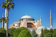 Beautiful view of Aya Sofia on a sunny clear day. Bright blue sky, magnificent landscape. Horizontal stock photography