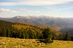 View of Baiului mountain ridge in autumn season. Beautiful view of Baiului mountain ridge in autumn season, with colorful forest and blue sky Stock Photography
