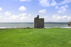 Beautiful view of Ballybunion castle and green. Beautiful view over the Ballybunion beach castle and cliffs in Ireland Royalty Free Stock Image