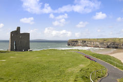 Beautiful view of Ballybunion cliffs castle and beach Royalty Free Stock Photo