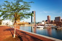 Beautiful view of Baltimore Inner Harbor skyline royalty free stock photography