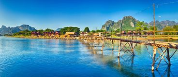 Beautiful view of a bamboo bridge. Laos landscape. Panorama Royalty Free Stock Image