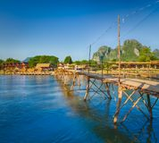 Beautiful view of a bamboo bridge. Laos landscape. Stock Images
