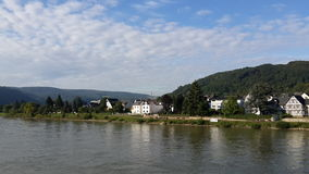 A beautiful view from the banks of the Rhine river. A photograph of the ship on the river Stock Photography