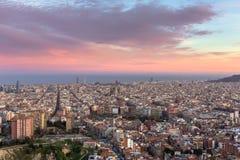 Beautiful view of Barcelona city skyline at sunset. Spain stock photo