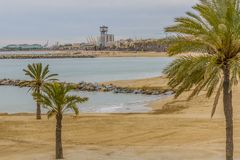 Beautiful view of Barceloneta beach with palm trees royalty free stock images