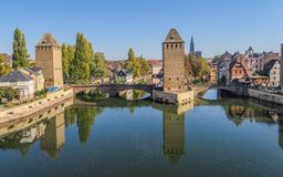 Beautiful View at Barrage Vauban in Strasbourg. The unique view of the Barrage Vauban in old town of Strasbourg, Alsace France stock photos