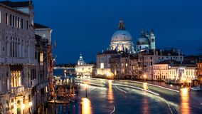 Beautiful view on Basilica di Santa Maria della Salute in golden evening light at sunset in Venice, Italy royalty free stock photo