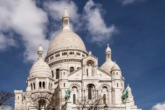 Beautiful view of the Basilica of the Sacred Heart of Paris, commonly known as Sacré-Cœur Basilica, Paris, France stock images
