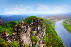 Beautiful view of Bastei rocks, Sachsische Schweiz. Near Dresden area, Germany Stock Images