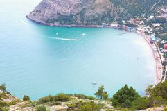 Beautiful view on bay with beach in Crimea Royalty Free Stock Photos
