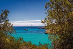 Beautiful view of the bay with turquoise water in Cala Mondrago National Park on Mallorca island, Spain. Beautiful view of the bay with turquoise water and Stock Photography