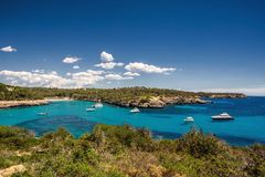 Beautiful view of the bay with turquoise water in Cala Mondrago National Park on Mallorca island, Spain. Beautiful view of the bay with turquoise water and Royalty Free Stock Images