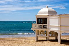 Beautiful view of a beach in Cadiz at sunny day. Andalusia, Spain Royalty Free Stock Image