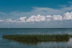 Beautiful view of the beach on the Finnish gulf, Saint-Petersbur Royalty Free Stock Image