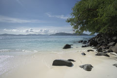 Beautiful view from beach of tropical island Royalty Free Stock Photo