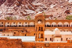 Bell tower of Saint Catherine`s Monastery, Egypt. Beautiful view of bellfry of Saint Catherine`s Monastery in Sinai Peninsula, Egypt. It is the oldest working royalty free stock photo