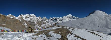Beautiful view from below Thorung La mountain pass Stock Photo