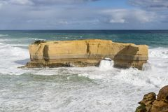 Beautiful view of the big rock called The Bakers Oven on a windy sunny day, Great Ocean Road, Australia. Oceania stock photo