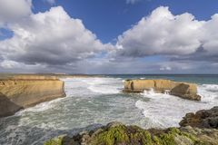 Beautiful view of the big rock called The Bakers Oven on a windy sunny day, Great Ocean Road, Australia. Oceania royalty free stock photography
