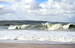Beautiful view of big waves on Nazare beach royalty free stock image