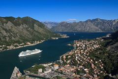 Beautiful view from the bird's-eye view on the Bay of Kotor Royalty Free Stock Photo