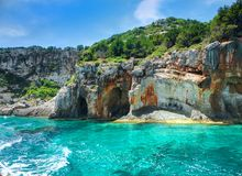 Beautiful view on Blue caves and blue water of Ionian sea on Island Zakynthos in Greece and sightseeing points on the rock. Boat t royalty free stock photos