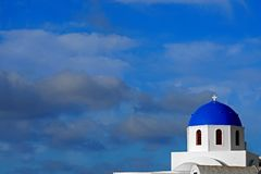Beautiful view of the blue dome of a church in Santorini, Cyclades. Greece stock photos