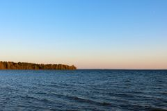 Beautiful view of the blue sky and the lake royalty free stock photo