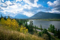 The Vermilion Lakes are a series of lakes located immediately west of Banff, Alberta, in the Canadian Rocky Mountains. royalty free stock image