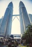Beautiful view on blue sky of Petronas Twin Towers in Kuala Lumpur. Malaysia. Asia Stock Image