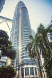 Beautiful view on blue sky of Petronas Twin Towers in Kuala Lumpur. Malaysia. Asia Royalty Free Stock Photography