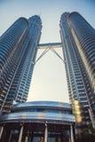 Beautiful view on blue sky of Petronas Twin Towers in Kuala Lumpur. Malaysia. Asia Stock Photo