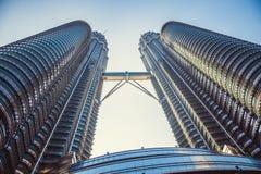 Beautiful view on blue sky of Petronas Twin Towers in Kuala Lumpur. Malaysia. Asia Royalty Free Stock Photos