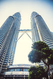 Beautiful view on blue sky of Petronas Twin Towers in Kuala Lumpur. Malaysia. Asia Stock Photography