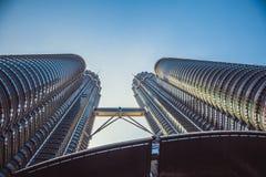 Beautiful view on blue sky of Petronas Twin Towers in Kuala Lumpur. Malaysia. Asia Royalty Free Stock Images