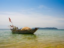 Beautiful view of a boat in the water in a sunny day, in Vietnam. Hoian is recognized as a World Heritage Site by UNESCO Royalty Free Stock Photography