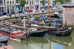boats anchored in Rotterdam royalty free stock photos
