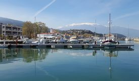 Beautiful view of boats in the harbour of Platamonas, Greece royalty free stock photos