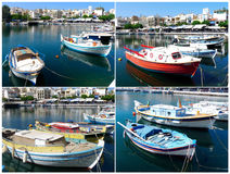 Beautiful view of boats on the lake in greece Royalty Free Stock Photo